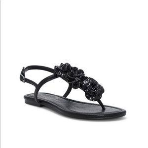 Jessica Simpson Kelanna Black Shimmer Sandal